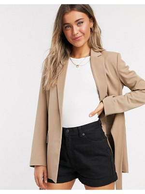 French Connection belted blazer jacket in camel-brown