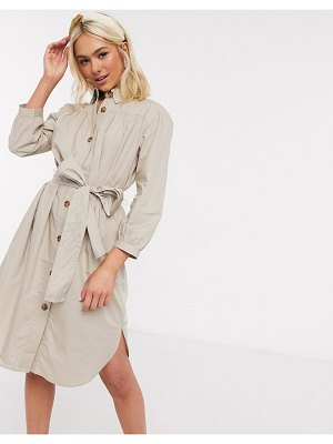 French Connection belted shirt dress-brown