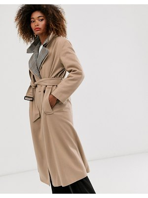 French Connection check collar coat-brown