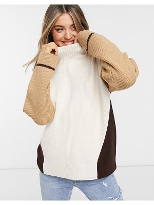 French Connection color block sweater in taupe multi-brown