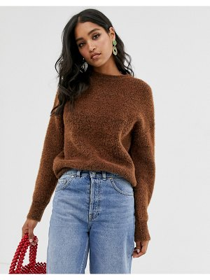 French Connection crew neck textured sweater-brown
