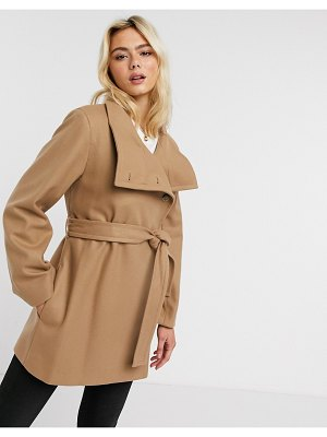 French Connection funnel-neck wool belted coat in camel-brown