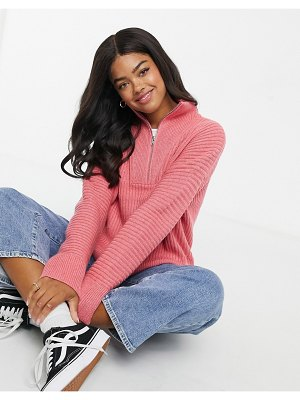 French Connection half-zip sweater in rose-pink