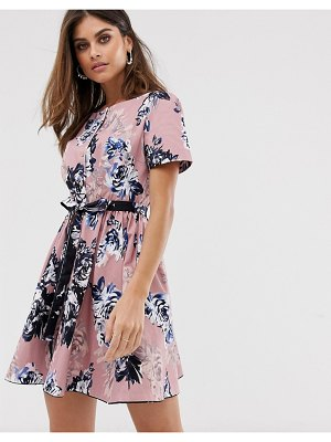 French Connection short sleeve structured floral dress-pink