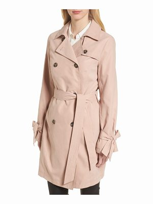 FRENCH CONNECTION Tie Cuff Water Resistant Trench Coat
