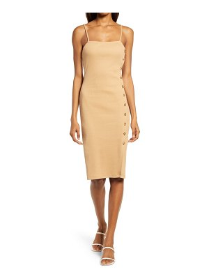 French Connection tommy button detail rib sheath dress