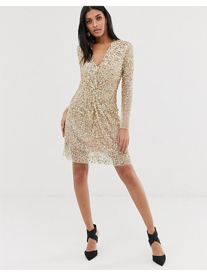 French Connection vneck knotted sequin mini dress-gold