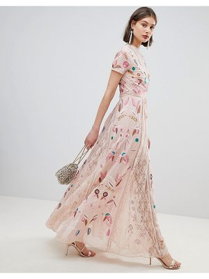 Frock And Frill Frock And Frill Allover Embroidered Plunge Front Maxi Dress