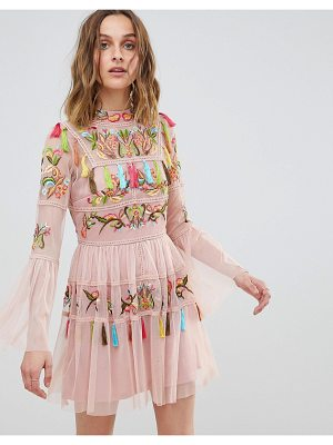 Frock And Frill Frock And Frill Folk Embroidered Tassel Skater Dress