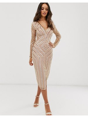 Frock And Frill frock & frill embellished v neck long sleeve midi dress
