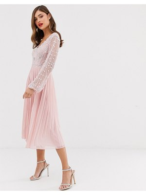 Frock And Frill frock & frill long sleeve pleated midi dress with embellished upper