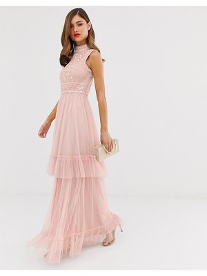 Frock And Frill frock & frill tulle layered maxi dress with embellished detail-pink