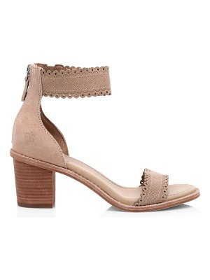 Frye brielle ankle-cuff laser cut suede sandals