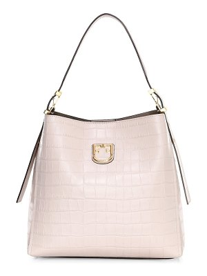 Furla small belvedere croc-embossed leather hobo bag