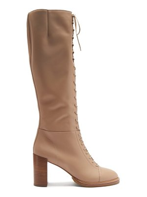 Gabriela Hearst pat lace-up leather knee-high boots