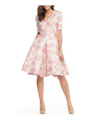 Gal Meets Glam Collection adair pink passion rose jacquard fit & flare dress