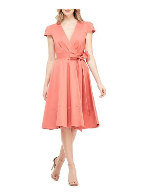 Gal Meets Glam Collection Cap-Sleeve Stretch-Cotton Wrap Dress