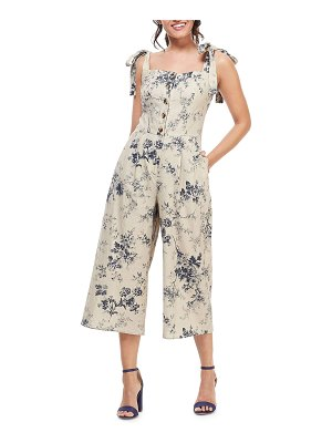 Gal Meets Glam Collection Floral-Print Button-Front Smocked-Back Tie-Shoulder Crop Jumpsuit