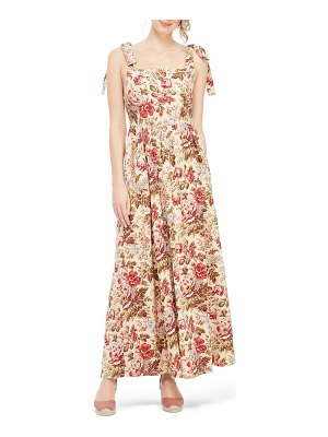Gal Meets Glam Collection floral print tie shoulder cotton maxi dress