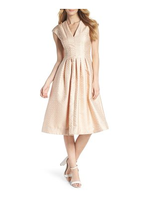 Gal Meets Glam Collection grace pleated jacquard fit & flare dress