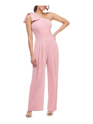 Gal Meets Glam Collection One-Shoulder Sleeveless Crepe Jumpsuit w/ Bow Detail