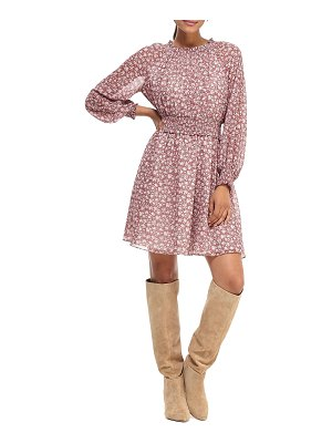 Gal Meets Glam Collection Pressed Floral Long-Sleeve Smocked-Waist Fit-&-Flare Dress