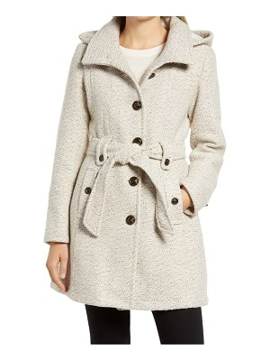Gallery belted tweed coat with hood
