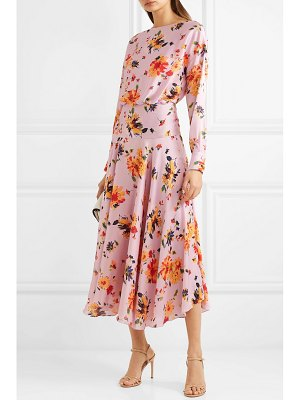 Galvan London majorelle gathered floral-print plissé-satin midi dress