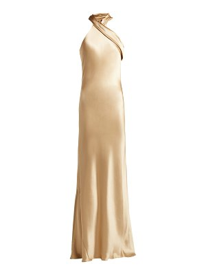 Galvan London Pandora silk-satin halterneck gown