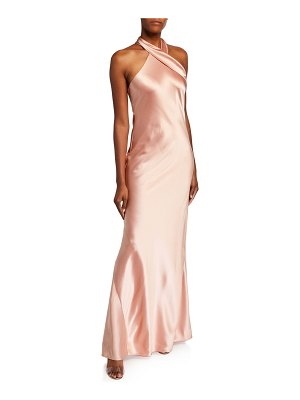 Galvan London Pandora Tie-Neck Halter Gown