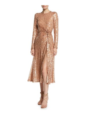 Galvan London Pinwheel Sequined Twist-Front Dress