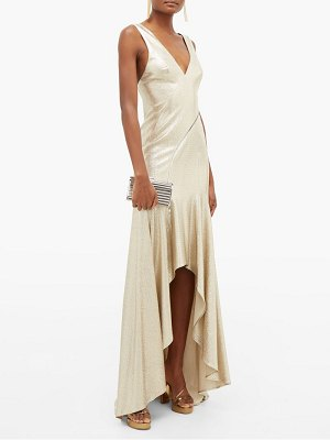 Galvan London releve asymmetric lurex gown