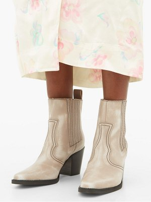 Ganni callie western leather ankle boots