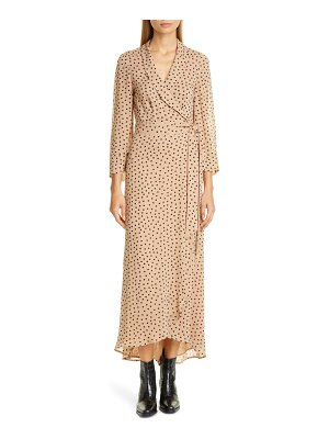 Ganni dot georgette wrap maxi dress