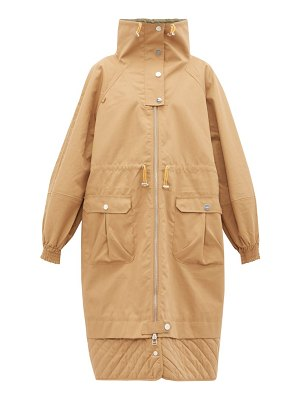 Ganni funnel neck puff sleeve cotton blend parka coat