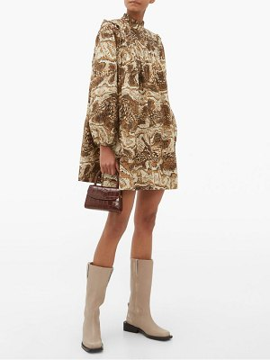 Ganni high-neck tiger's eye-print mini smock dress