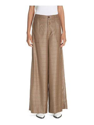 Ganni merkel glen plaid wide leg silk & wool pants