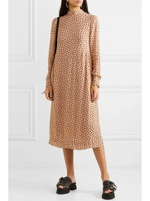 Ganni polka-dot georgette midi dress