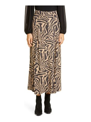Ganni print front button midi skirt