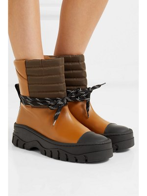 Ganni quilted shell and rubber-trimmed leather ankle boots