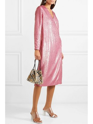 Ganni sonora sequined satin wrap dress