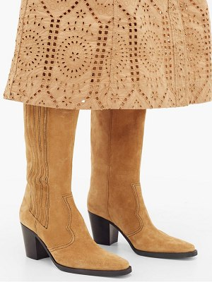 Ganni square-toe suede knee-high boots
