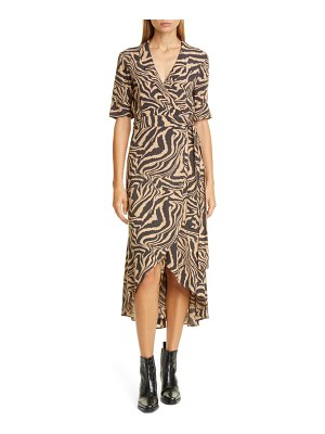 Ganni tiger stripe print wrap midi dress