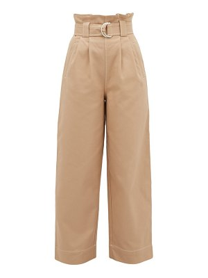 Ganni wide-leg paperbag cotton-twill trousers