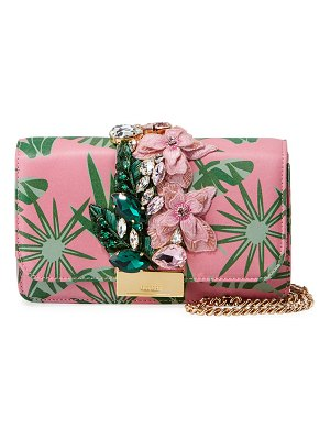 GEDEBE Cliky Mini Jeweled Leather Clutch Bag