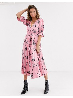 Ghost anna printed satin midi dress-pink