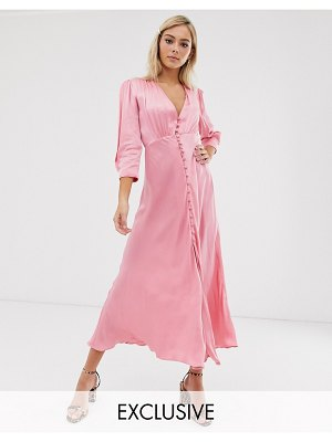 Ghost exclusive maddison button front satin midi dress-pink
