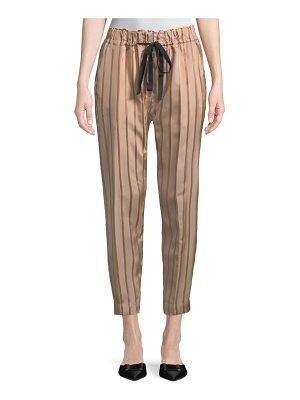 GIADA FORTE Drawstring Striped Jogger Pants