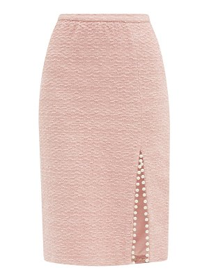 Giambattista Valli faux pearl-trimmed cotton-blend tweed midi skirt