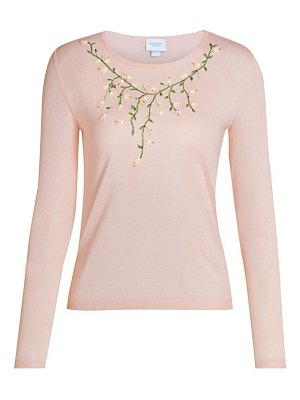 Giambattista Valli floral embroidered cashmere & silk knit sweater